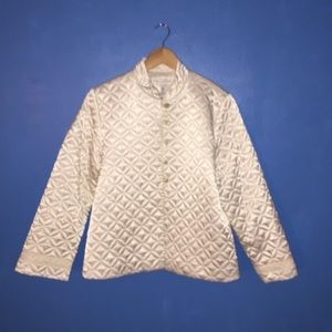 Ivory Quilted Formal Dressy Silky Feel Jacket